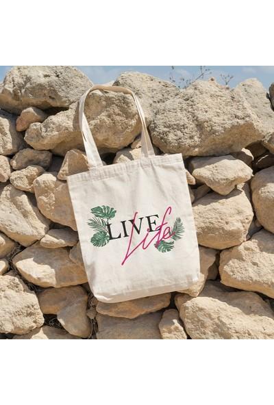 Angemiel Bag Live Lite Yaprak Alışveriş Plaj Bez Çanta