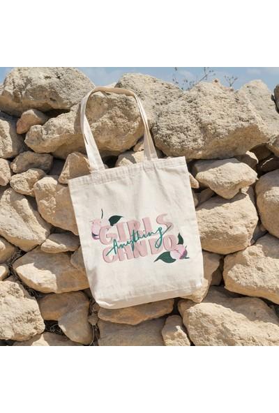 Angemiel Bag Girls Anything Can Do Alışveriş Plaj Bez Çanta