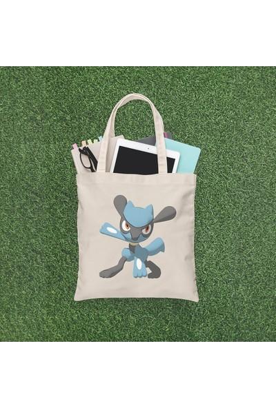 Angemiel Bag Pokemon Lucario Alışveriş Plaj Bez Çanta