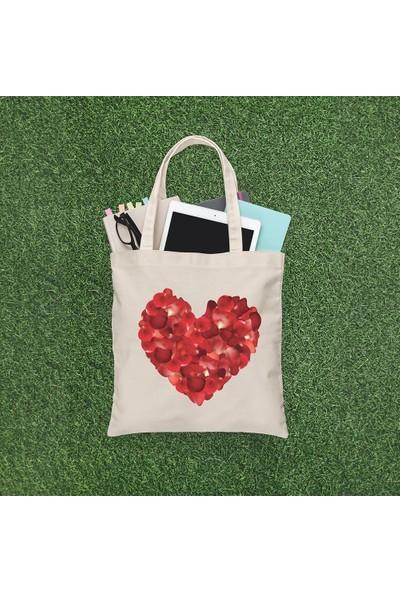 Angemiel Bag Gül Desenli Kalp Alışveriş Plaj Bez Çanta