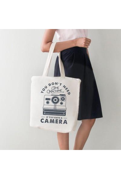 Angemiel Bag You Don'T Need Time Machine Büyük Bez Alışveriş Plajçanta
