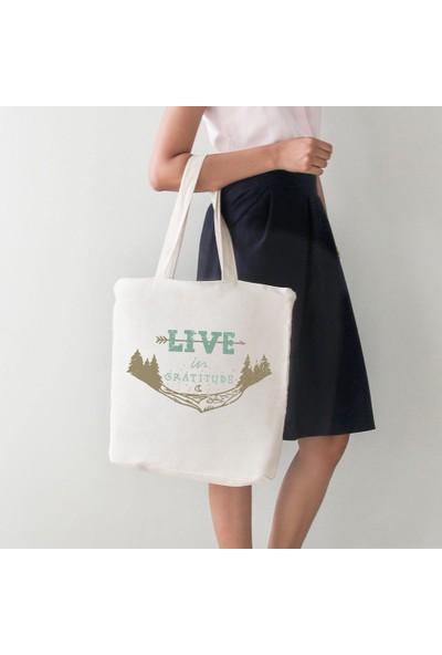 Angemiel Bag Live In Gratıtude Yazılı Bez Alışveriş Plaj Çanta