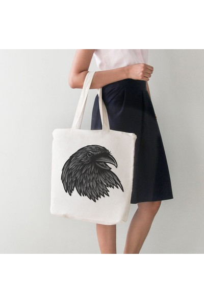 Angemiel Bag Siyah Tonlu Kartal Kafası Bez Alışveriş Plaj Çanta