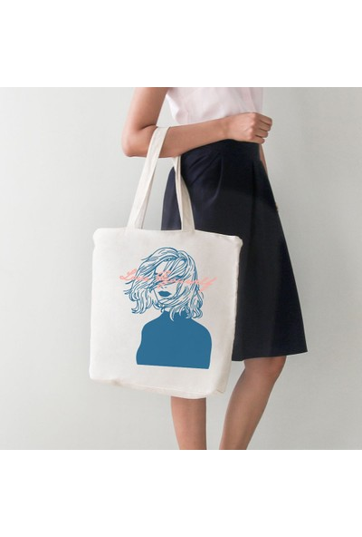 Angemiel Bag Love Lady Bayan Sade Bez Alışveriş Plaj Çanta