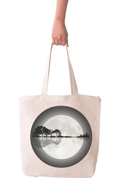 Angemiel Bag Büyük Ay Manzarası Alışveriş Plaj Bez Çanta