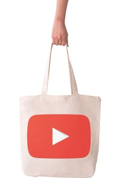 Angemiel Bag Büyük Youtube Logo Alışveriş Plaj Bez Çanta