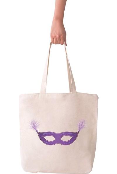 Angemiel Bag Büyük Mor Maske Alışveriş Plaj Bez Çanta