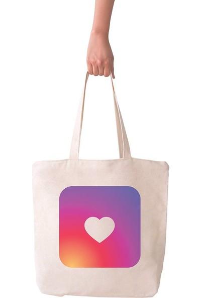 Angemiel Bag Büyük İnstagram Aşkı Alışveriş Plaj Bez Çanta