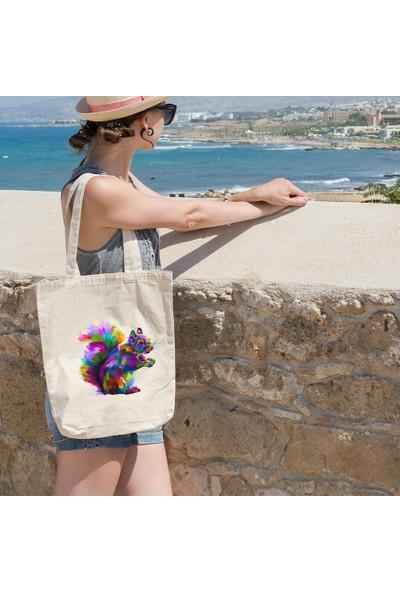 Angemiel Bag Rengarenk Sevimli Sincap Resimli Alışveriş Plaj Bez Çanta