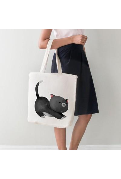 Angemiel Bag Büyük Esneyen Sevimli Yavru Kedi Alışveriş Plaj Bez Çanta