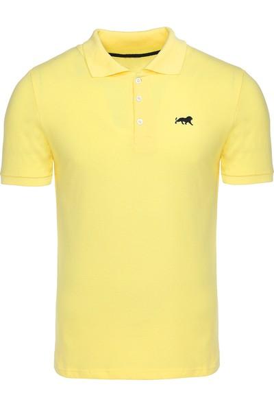 Genius Store Erkek Basic Sarı Polo Yaka T-Shirt