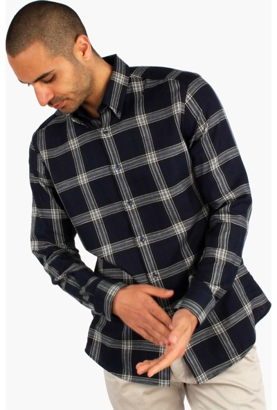 Dufy Erkek Büyük Kare Desenli Gömlek Slim Fit