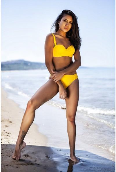 ZiButik Sarı Diana Straplez Kadın Bikini Üstü