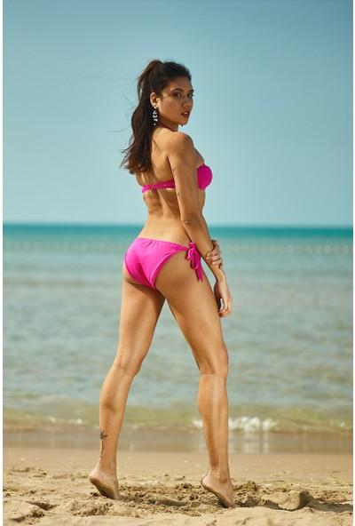ZiButik Pembe Straplez Kadın Bikini Üstü