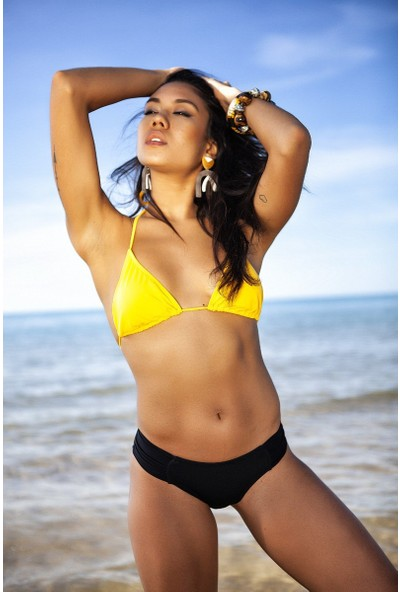 ZiButik Sarı Üçgen Kadın Bikini Üstü
