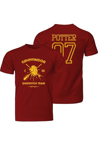 Harry Potter Quidditch Gryffindor Harry Potter Kırmızı Unisex T-Shirt