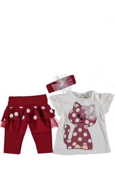 Bebexi Bandanalı Simli Tayt T-Shirt 3'lü Kız Çocuk Takım