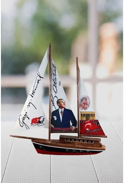Angemiel Gift Gazi Atatürk İmzası Anıtkabir Dekoratif Büyük Yelkenli Gemi Maketi