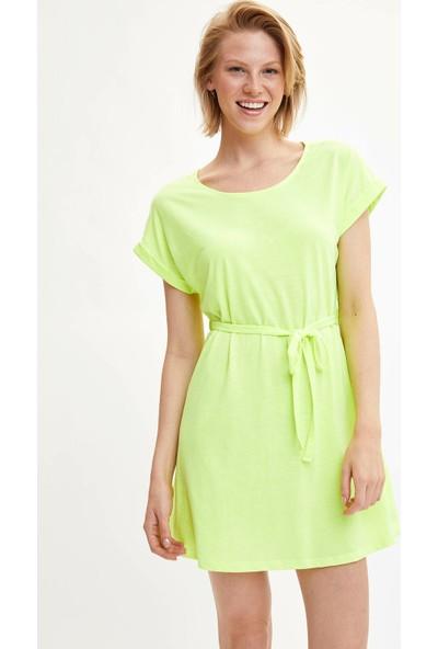 Defacto Kadın Kemerli Kısa Kollu Elbise