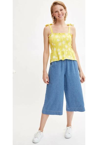 Defacto Kadın Elastik Belli Paperbag Jean Şort