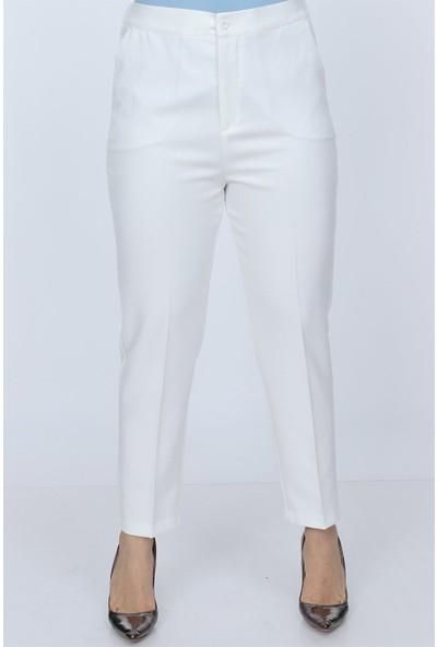 Rmg Beli Lastikli Büyük Beden Kumaş Pantolon Beyaz