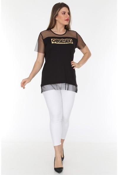 Rmg Eteği Ve Kolları Tül Detaylı Büyük Beden Obsessed T-Shirt Siyah