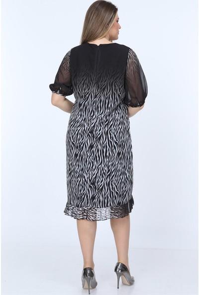 Rmg Zebra Desenli Fırfır Detaylı Büyük Beden Elbise Siyah