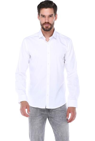Manche Beyaz Takma Patlı Pensli Premium Gömlek   Me19S110009