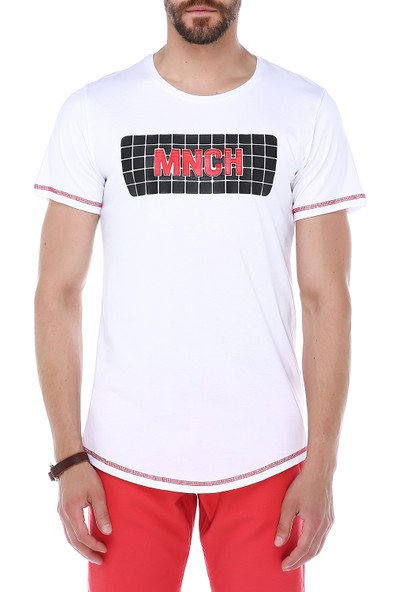 Manche Beyaz Önü Baskılı Basic T-Shirt | Me19S214384