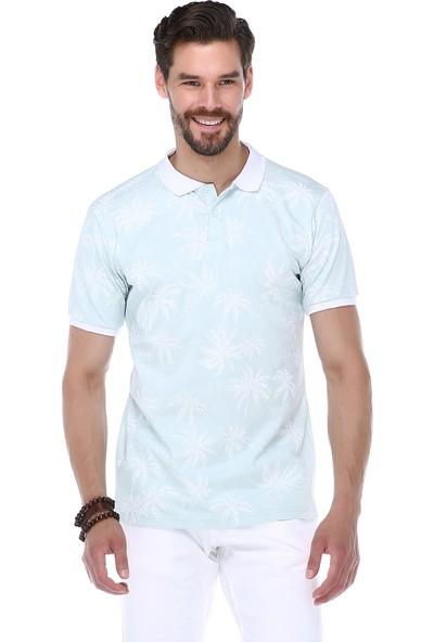 Manche Mint Palmiye Baskılı Polo Yaka T-Shirt | ME19S234427