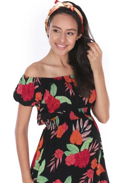 Gör&Sin Çiçek Desenli Hamile Elbise Siyah