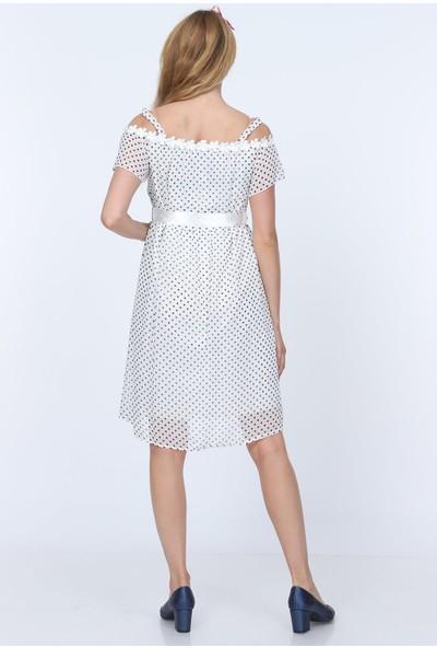 Gör&Sin Puantiyeli Hamile Kısa Elbise Beyaz