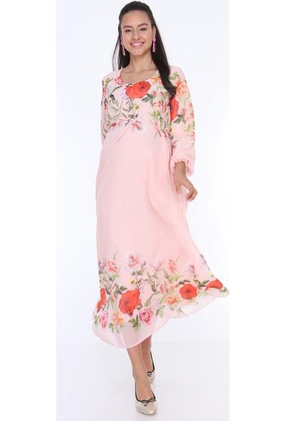 Gör&Sin Çiçek Desenli Hamile Şifon Elbise Pudra