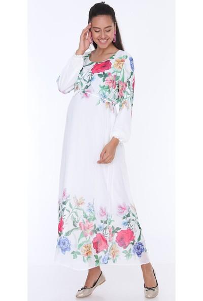 Gör&Sin Çiçek Desenli Hamile Şifon Elbise Beyaz