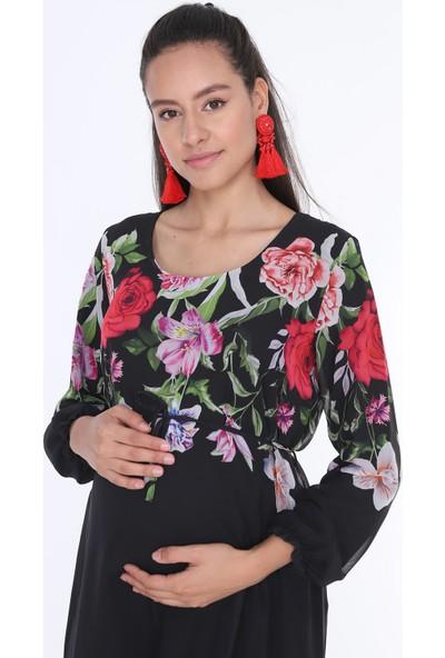 Gör&Sin Çiçek Desenli Hamile Şifon Elbise Siyah