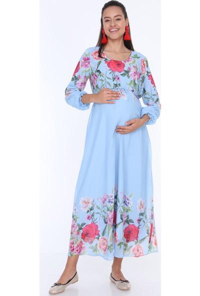 Gör&Sin Çiçek Desenli Hamile Şifon Elbise Mavi