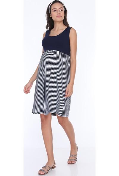 Gör&Sin Dikine Çizgili Sıfır Kollu Hamile Elbise Beyaz