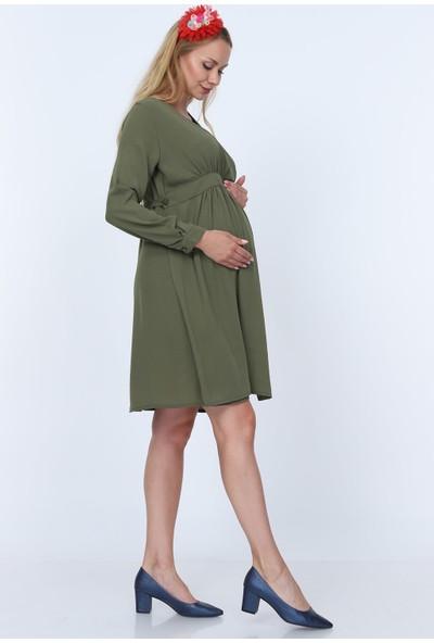 Gör&Sin Düğme Detaylı Kruvaze Yaka Hamile Elbise Haki
