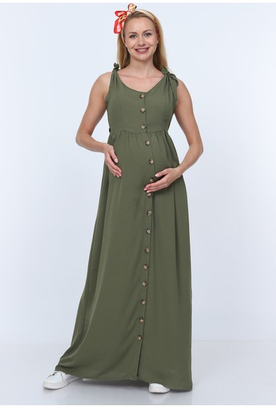 Gör&Sin Omuz Fiyonk Görünümlü Düğme Detaylı Hamile Elbisesi Haki