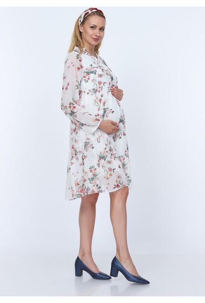 Gör&Sin Yaka Bağcık Detaylı Çiçek Desenli Hamile Şifon Elbise Beyaz