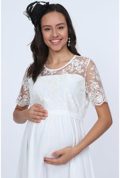 Gör&Sin Dantel Detaylı Şifon Hamile Kısa Elbise Beyaz