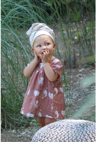 Auntie Me Toprak Rengi Kız Çocuk Reach For The Sky Elbise
