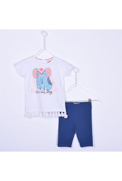 Silversun Kız Bebek Bisiklet Yaka Altı Pileli Kısakol T Shirt Tayt Tk. KT 111960