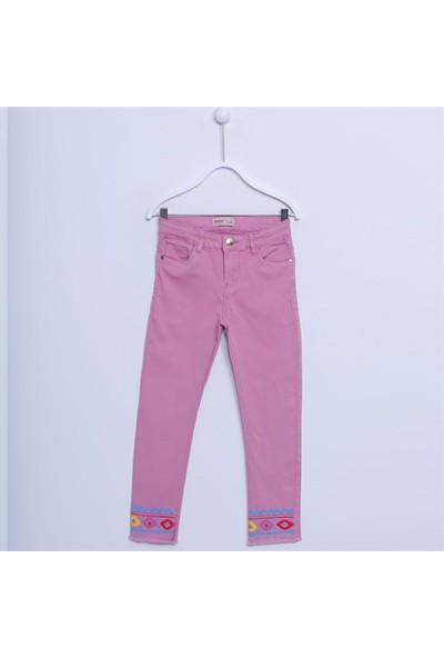 Silversun Kız Çocuk Paçası Baskılı Yıkamalı Pantolon PC 312160
