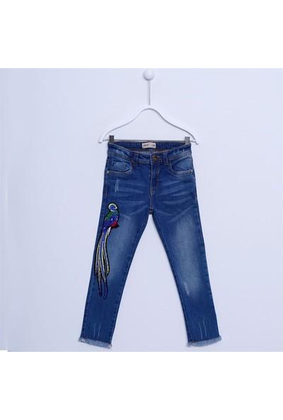Silversun Kız Çocuk Nakışlı Denim Pantolon PC 311928