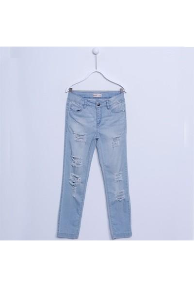 Silversun Kız Çocuk Nakışlı Denim Pantolon PC 312022