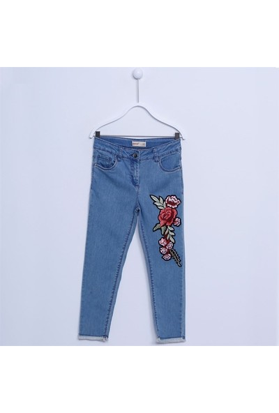 Silversun Kız Çocuk Nakışlı Denim Pantolon PC 312023