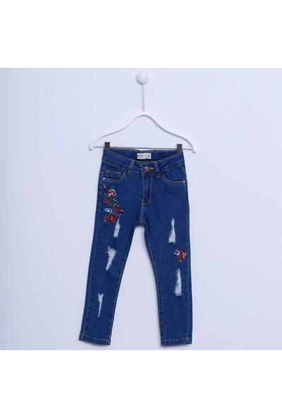 Silversun Kız Çocuk Nakışlı Denim Pantolon PC 211741