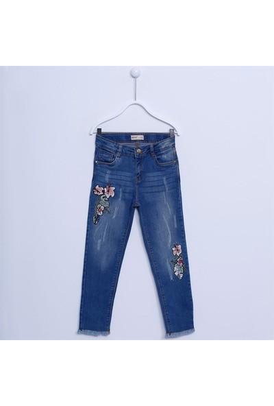 Silversun Kız Çocuk Nakışlı Denim Pantolon PC 312200