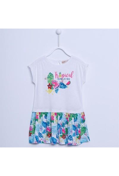 Silversun Kız Çocuk Kısa Kollu Baskılı Elbise EK 211626
